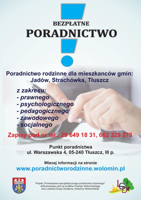 Plakat LGD Bezpłatne poradnictwo Radzymin
